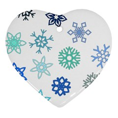 Snowflakes Blue Green Star Heart Ornament (two Sides) by Mariart