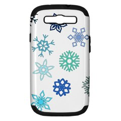 Snowflakes Blue Green Star Samsung Galaxy S Iii Hardshell Case (pc+silicone) by Mariart
