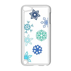 Snowflakes Blue Green Star Apple Ipod Touch 5 Case (white) by Mariart