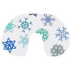 Snowflakes Blue Green Star Travel Neck Pillows by Mariart