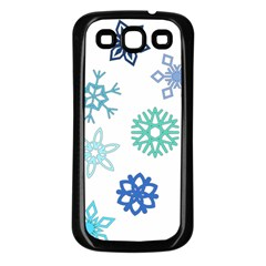 Snowflakes Blue Green Star Samsung Galaxy S3 Back Case (black) by Mariart