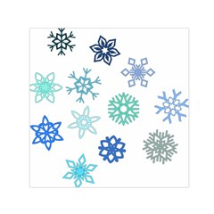 Snowflakes Blue Green Star Small Satin Scarf (square) by Mariart