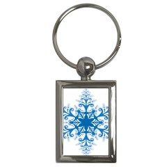 Snowflakes Blue Flower Key Chains (rectangle)  by Mariart