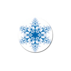 Snowflakes Blue Flower Golf Ball Marker by Mariart
