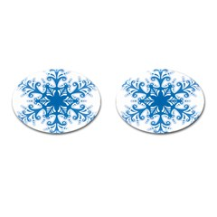 Snowflakes Blue Flower Cufflinks (oval) by Mariart