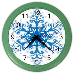 Snowflakes Blue Flower Color Wall Clocks by Mariart