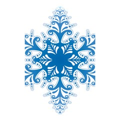Snowflakes Blue Flower Shower Curtain 48  X 72  (small)  by Mariart