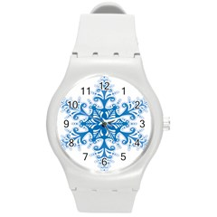 Snowflakes Blue Flower Round Plastic Sport Watch (m) by Mariart