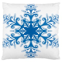 Snowflakes Blue Flower Large Cushion Case (two Sides) by Mariart
