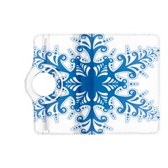 Snowflakes Blue Flower Kindle Fire Hd (2013) Flip 360 Case by Mariart