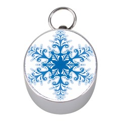 Snowflakes Blue Flower Mini Silver Compasses by Mariart