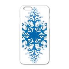 Snowflakes Blue Flower Apple Iphone 6/6s White Enamel Case by Mariart