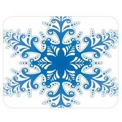 Snowflakes Blue Flower Double Sided Flano Blanket (medium)  by Mariart