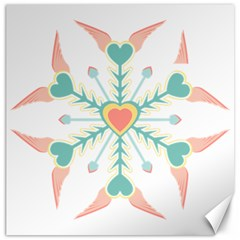 Snowflakes Heart Love Valentine Angle Pink Blue Sexy Canvas 16  X 16   by Mariart