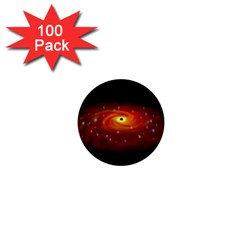 Space Galaxy Black Sun 1  Mini Buttons (100 Pack)  by Mariart