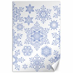 Snowflakes Blue White Cool Canvas 20  X 30   by Mariart