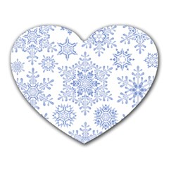 Snowflakes Blue White Cool Heart Mousepads by Mariart