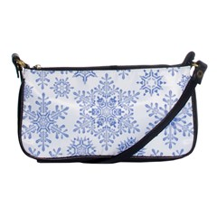 Snowflakes Blue White Cool Shoulder Clutch Bags by Mariart