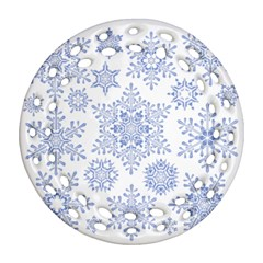 Snowflakes Blue White Cool Ornament (round Filigree) by Mariart