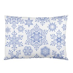 Snowflakes Blue White Cool Pillow Case (two Sides) by Mariart