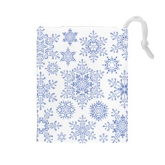 Snowflakes Blue White Cool Drawstring Pouches (large)  by Mariart