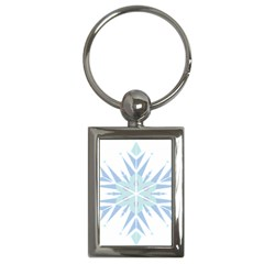 Snowflakes Star Blue Triangle Key Chains (rectangle)  by Mariart