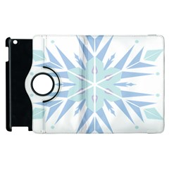 Snowflakes Star Blue Triangle Apple Ipad 3/4 Flip 360 Case by Mariart
