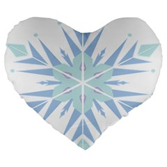 Snowflakes Star Blue Triangle Large 19  Premium Heart Shape Cushions by Mariart