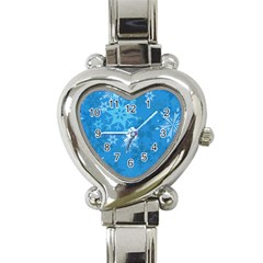 Snowflakes Cool Blue Star Heart Italian Charm Watch by Mariart