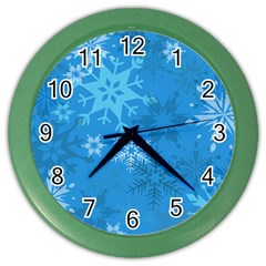 Snowflakes Cool Blue Star Color Wall Clocks by Mariart