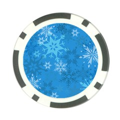 Snowflakes Cool Blue Star Poker Chip Card Guard