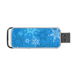 Snowflakes Cool Blue Star Portable Usb Flash (two Sides) by Mariart