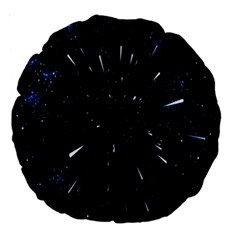 Space Warp Speed Hyperspace Through Starfield Nebula Space Star Line Light Hole Large 18  Premium Round Cushions by Mariart