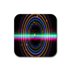 Spectrum Space Line Rainbow Hole Rubber Square Coaster (4 Pack)  by Mariart