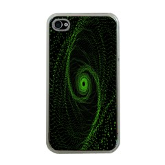 Space Green Hypnotizing Tunnel Animation Hole Polka Green Apple Iphone 4 Case (clear) by Mariart