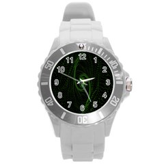 Space Green Hypnotizing Tunnel Animation Hole Polka Green Round Plastic Sport Watch (l) by Mariart