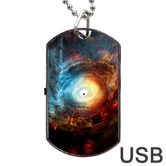Supermassive Black Hole Galaxy Is Hidden Behind Worldwide Network Dog Tag Usb Flash (two Sides) by Mariart