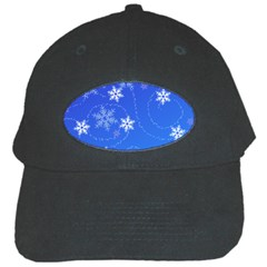 Winter Blue Snowflakes Rain Cool Black Cap by Mariart