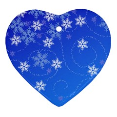 Winter Blue Snowflakes Rain Cool Ornament (heart) by Mariart