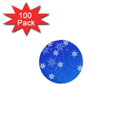 Winter Blue Snowflakes Rain Cool 1  Mini Buttons (100 Pack)  by Mariart
