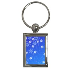 Winter Blue Snowflakes Rain Cool Key Chains (rectangle)  by Mariart