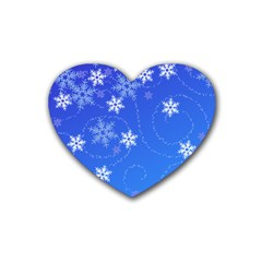 Winter Blue Snowflakes Rain Cool Heart Coaster (4 Pack)  by Mariart