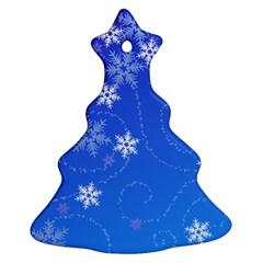 Winter Blue Snowflakes Rain Cool Ornament (christmas Tree)