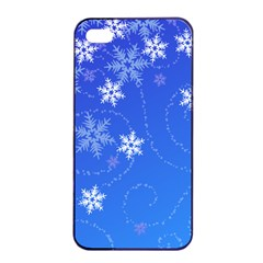 Winter Blue Snowflakes Rain Cool Apple Iphone 4/4s Seamless Case (black) by Mariart