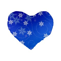 Winter Blue Snowflakes Rain Cool Standard 16  Premium Heart Shape Cushions by Mariart