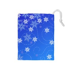 Winter Blue Snowflakes Rain Cool Drawstring Pouches (medium)  by Mariart