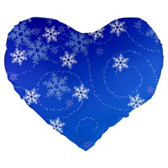 Winter Blue Snowflakes Rain Cool Large 19  Premium Flano Heart Shape Cushions by Mariart