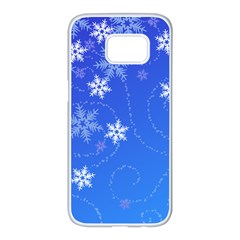 Winter Blue Snowflakes Rain Cool Samsung Galaxy S7 Edge White Seamless Case by Mariart