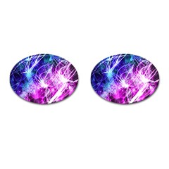 Space Galaxy Purple Blue Cufflinks (oval) by Mariart