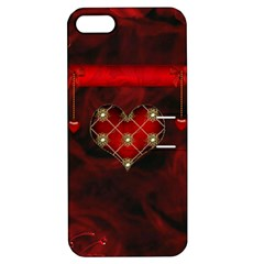 Wonderful Elegant Decoative Heart With Flowers On The Background Apple Iphone 5 Hardshell Case With Stand by FantasyWorld7